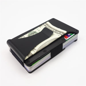 Slim Metal Credit Card Holder Wallet With Metal Money Clip