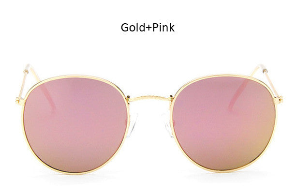Classic Vintage Small Round Sunglasses Retro Men Women Brand Designer Metal Pink Mirror Sun Glasses