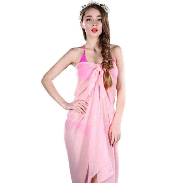 Dropshipping Beach Cover Up Solid Color Chiffon Bikini Cover Up Swimwear Women Robe  Beach Cheap Bathing Suit Cover Ups #11