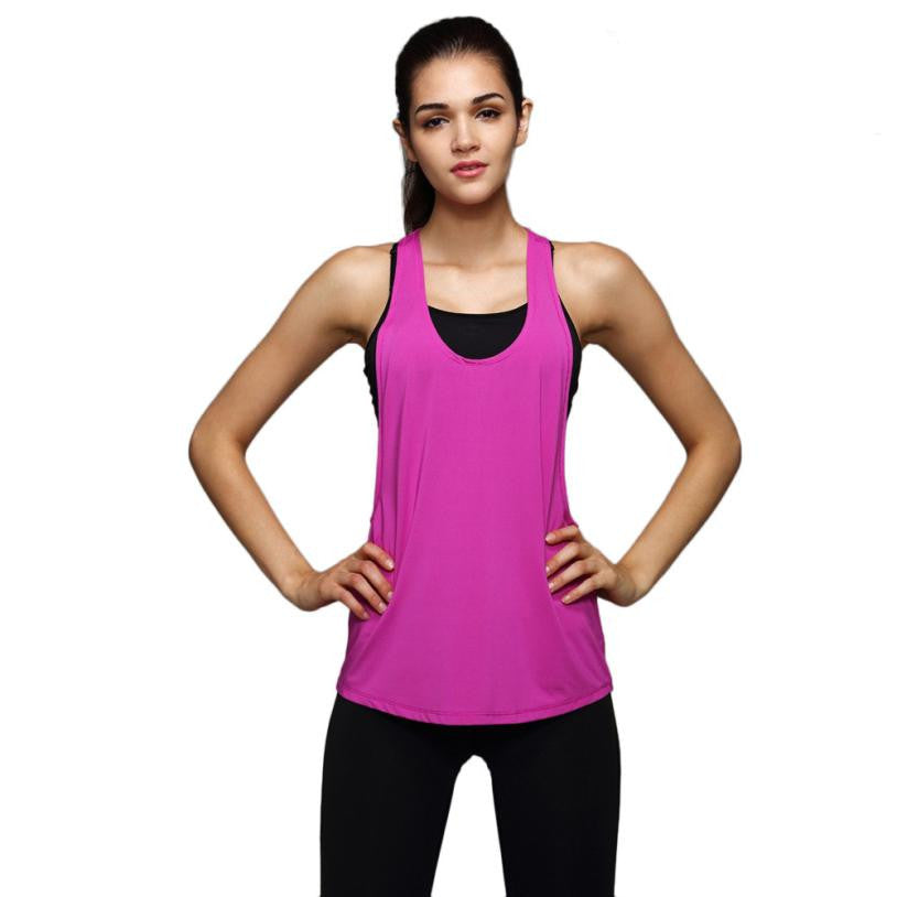 Women Sleeveless Running Vest Tank Tops Quick Dry Smock Loose Vest Gym Fitness Sport Singlet #