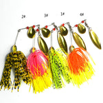 MUQGEW 4pc Bass Fish Metal Bait Sequin Beard Spinnerbait Pike Fishing Tackle Rubber Jig Soft Fishing Lure #E0