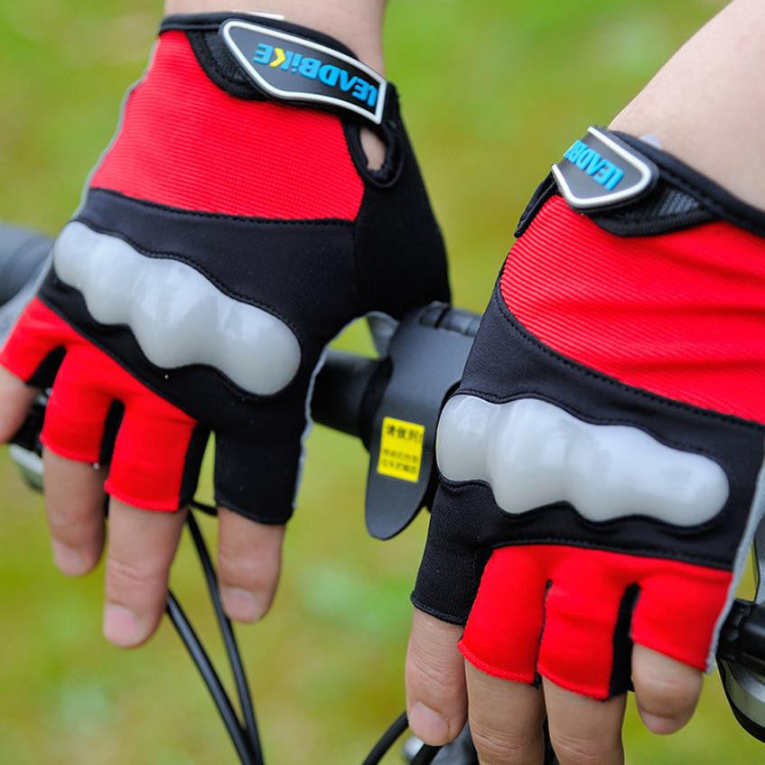 Leadbike Anti Slip Cycling Gloves Half Finger With Reflective Ultra-Breathable Waterproof Material