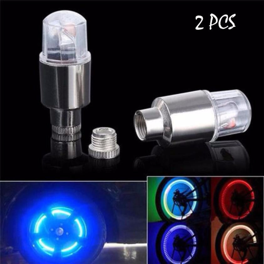 2X Bike Valve Cap Light with No Battery Mountain Road bicycle Lights LEDS Tyre Tire Valve Caps Wheel spokes LED Light #EW
