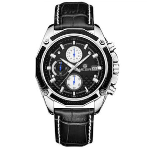Men's Fashion Genuine Leather Chronograph Watch