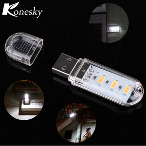 Portable Mini 3-LED USB Light Night Lamp Outdoor Camping Light SMD 5730 for PC Desktop Laptop Notebook Power Bank