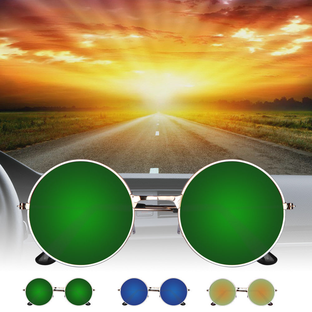 Vintage UV400 Round Mirror Metal Frame Sunglasses for Outdoor Sport Traveling Fishing Hiking Camping