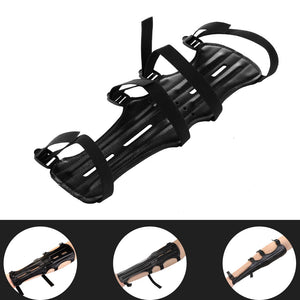 Archery Armguard, Shooting Archery Arm Guard Protection Safe Guard With 2 Rods, PU Leather, 11.8inch Length With 4 Adjustable Straps
