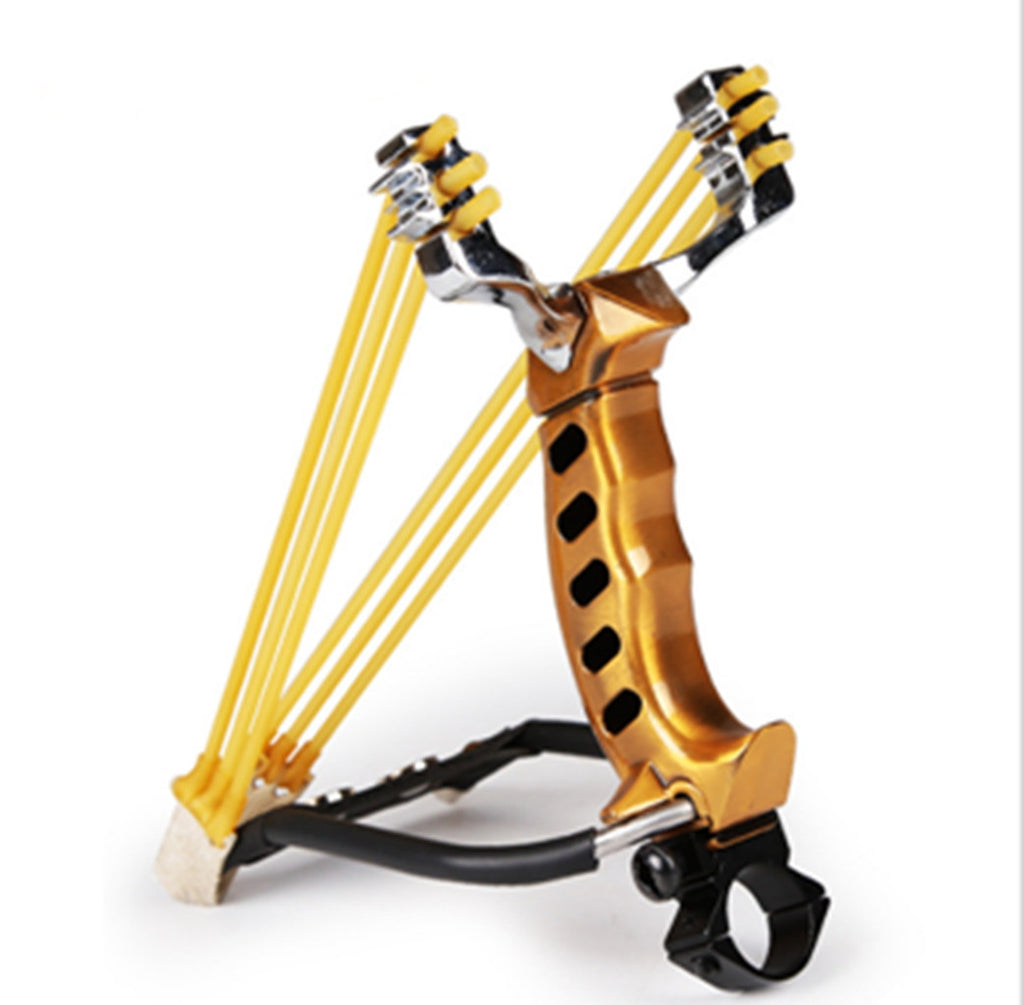 Powerful Wrist Slingshot Hunting Catapult Handle Alloy Hunter Folding Wrist Sling Shot Color:Golden