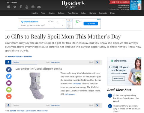 Readers Digest - Mothers Day Guift Guide - Slipper Socks