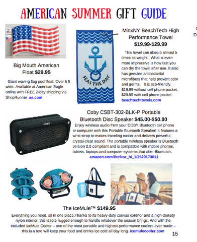 """American Summer Gift Guide"" in the Summer 2017 issue of NEXTonSCENE!"