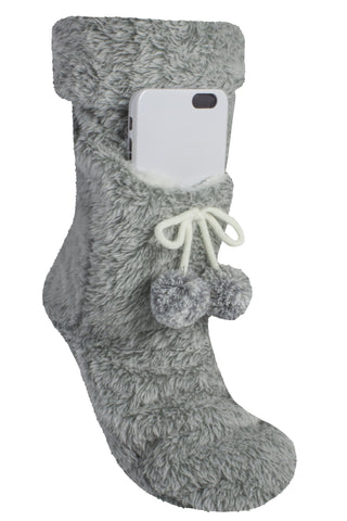 Fluffy Phone Pocket Slipper Sock - MinxNY.com