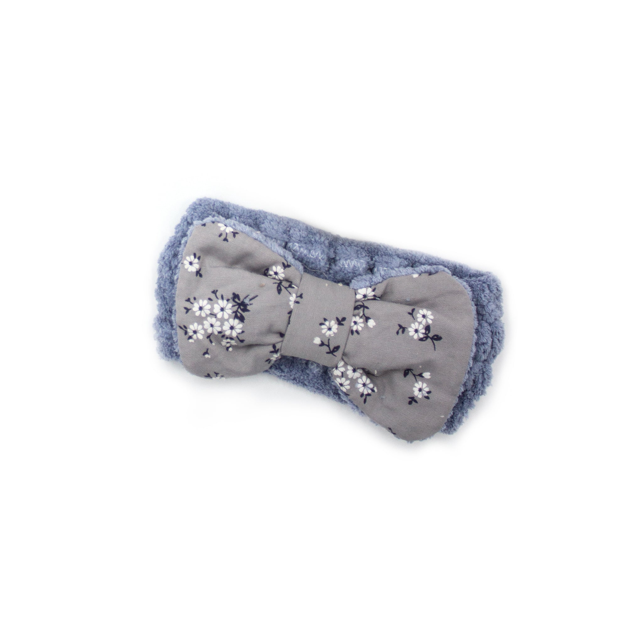 "Women's Cosmetic Headband, Light Blue with ""Flower"" print Gingham Style Bow, by MinxNY"