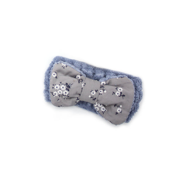 "Cosmetic Makeup Headband With ""Flower"" Print Gingham Style Bow"