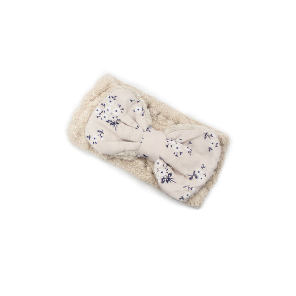 "Women's Cosmetic Accessory Spa Beauty and Makeup Headband, Cream with ""Flower"" print Gingham Style Bow, by MinxNY"