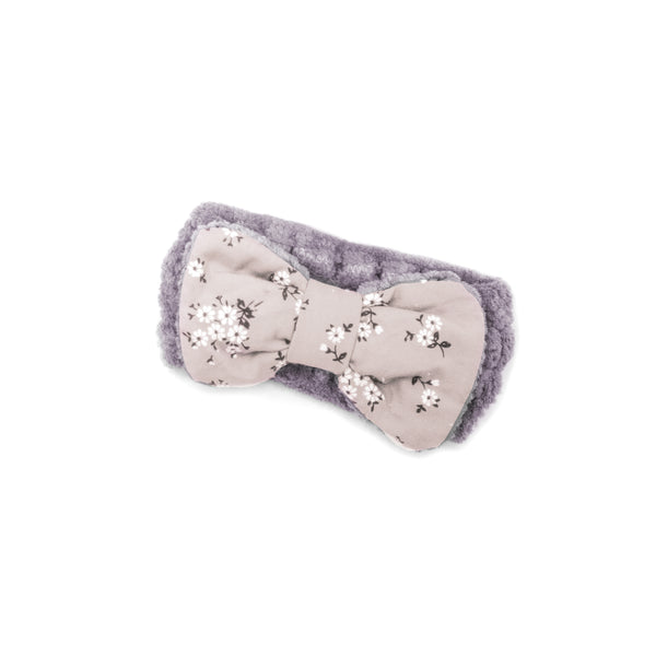"Women's Cosmetic Accessory Spa Beauty and Makeup Headband, Lavender with ""Flower"" print Gingham Style Bow, by MinxNY"