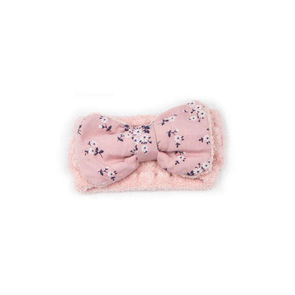 "Women's Cosmetic Accessory Spa Beauty and Makeup Headband, Light Blue with ""Flower"" print Gingham Style Bow, by MinxNY"