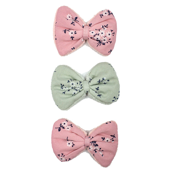 Cosmetic Hair Clips, 2 Pink & 1 Green