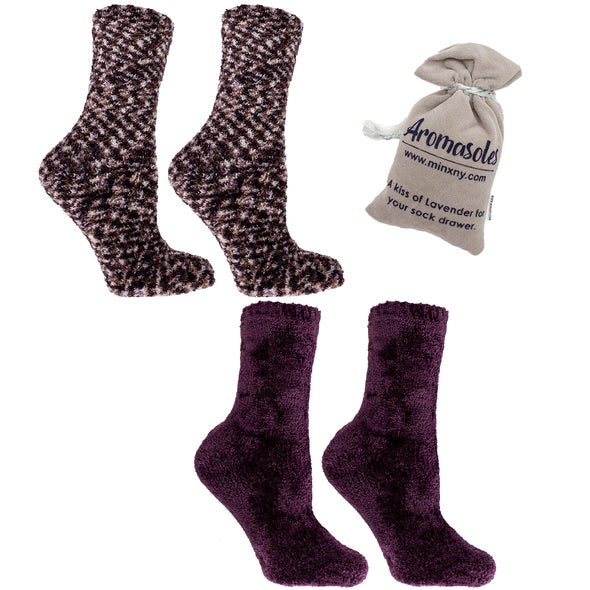 2 Pairs - Non-Skid Warm Soft and Fuzzy Rose and Shea Butter Infused Slipper Socks with Sachet Gift