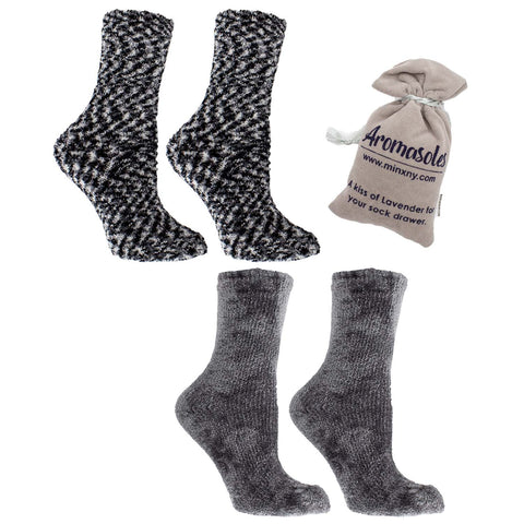 Women's Non-Skid Warm Soft and Fuzzy Rose and Shea Butter Infused 2-Pair Pack Slipper Socks with Sachet Gift, Grey