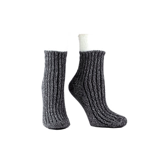 Women's Double Layer Corduroy Non-Skid Warm Soft and Fuzzy Lavender and Shea Butter Infused Slipper Socks Gift