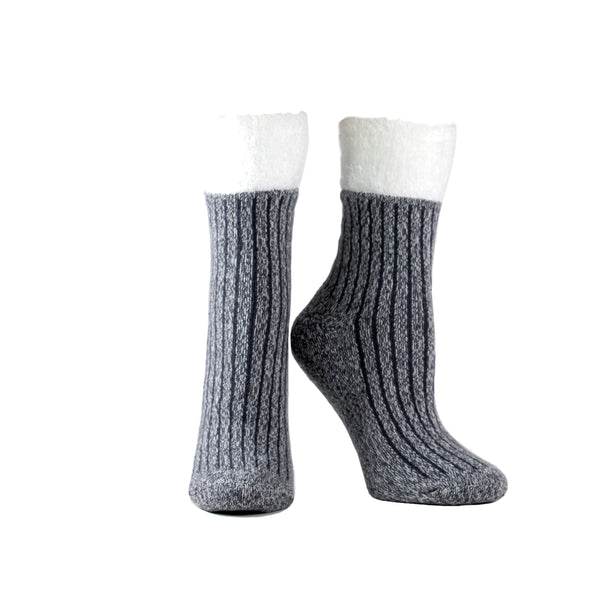 Women's Double Layer Corduroy Non-Skid Warm Soft and Fuzzy Lavender and Shea Butter Infused Slipper Socks Gift, Charcoal Grey