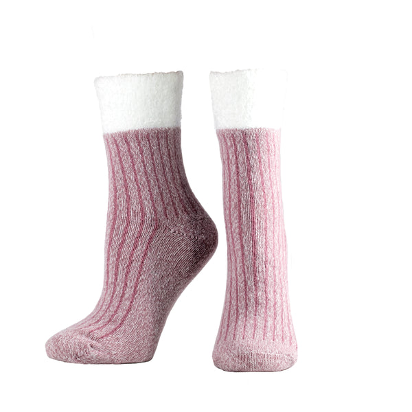 Women's Double Layer Corduroy Non-Skid Warm Soft and Fuzzy Lavender and Shea Butter Infused Slipper Socks Gift, Red