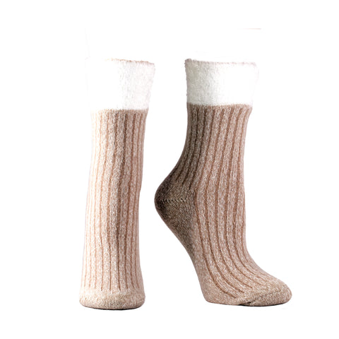 Women's Double Layer Corduroy Non-Skid Warm Soft and Fuzzy Lavender and Shea Butter Infused Slipper Socks Gift, Tan