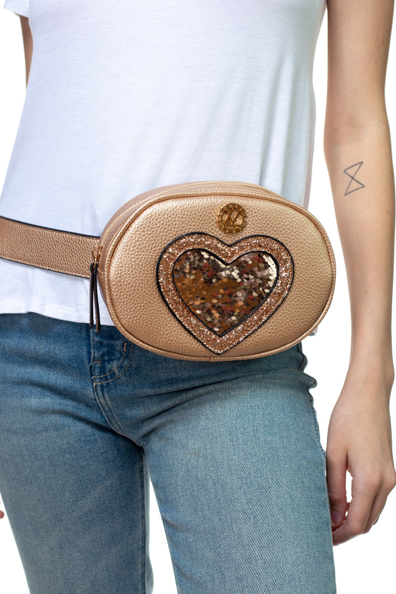 Reversible Sequin Heart Belt Bag - LANY