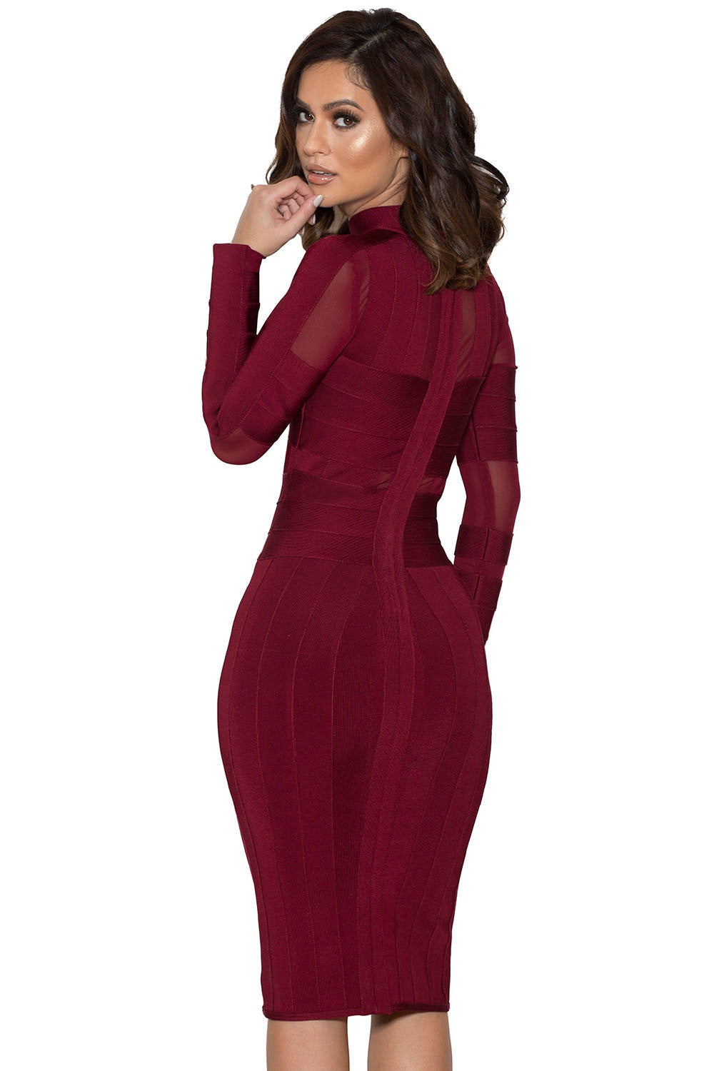 Monica Wine Bandage Dress