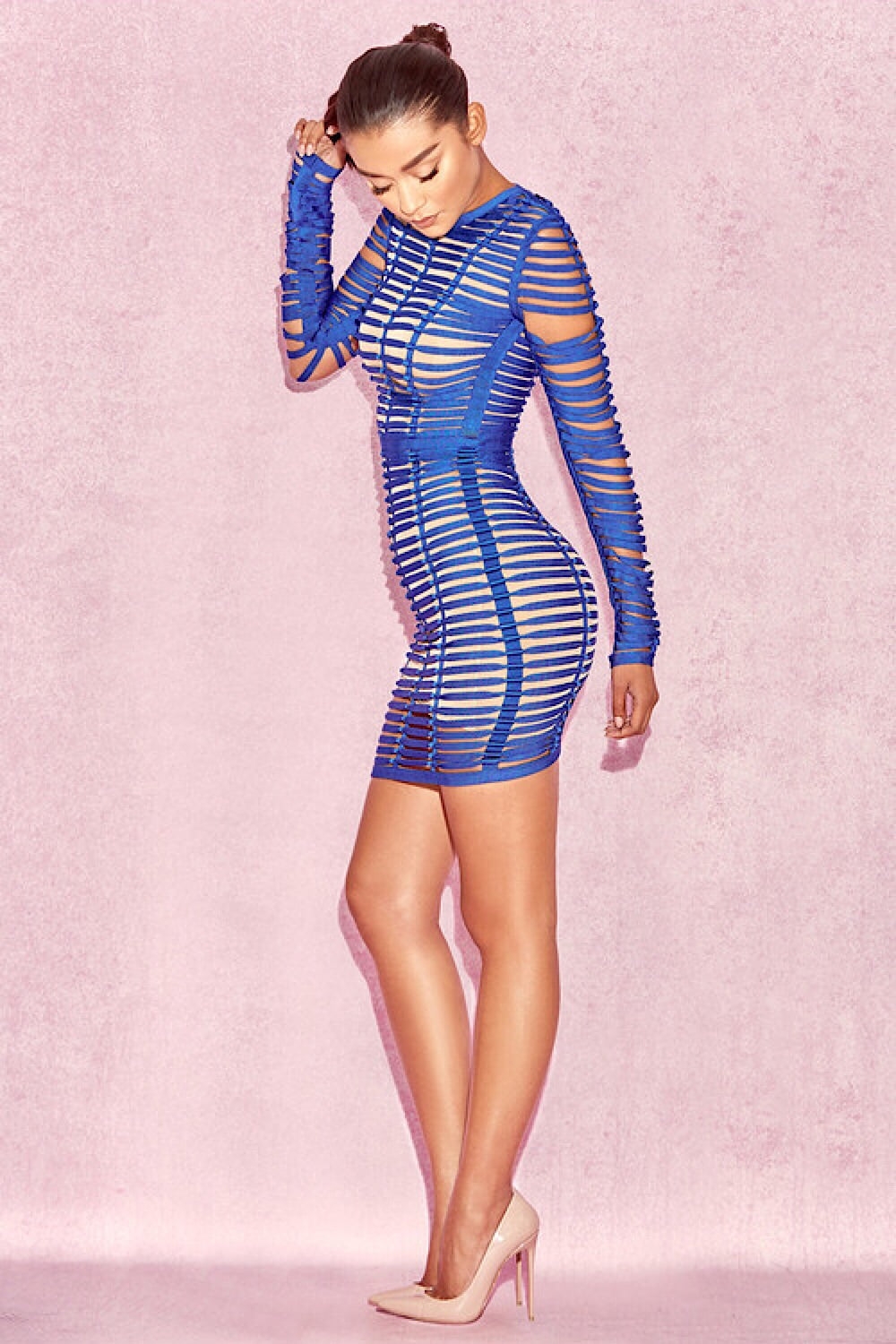 Ysabel Blue Knot Twist Bandage Dress