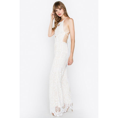 Alyssa White Crochet Jumpsuit