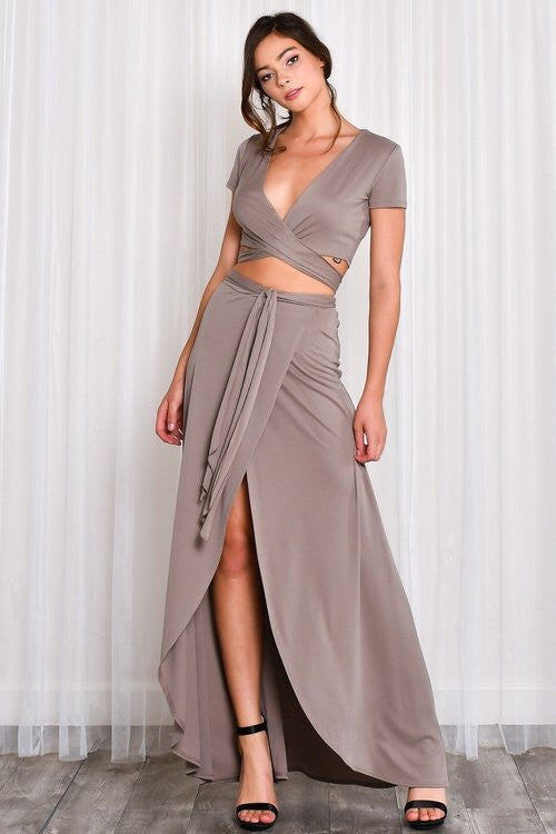 Hide N Seek Taupe Crop & skirt Set