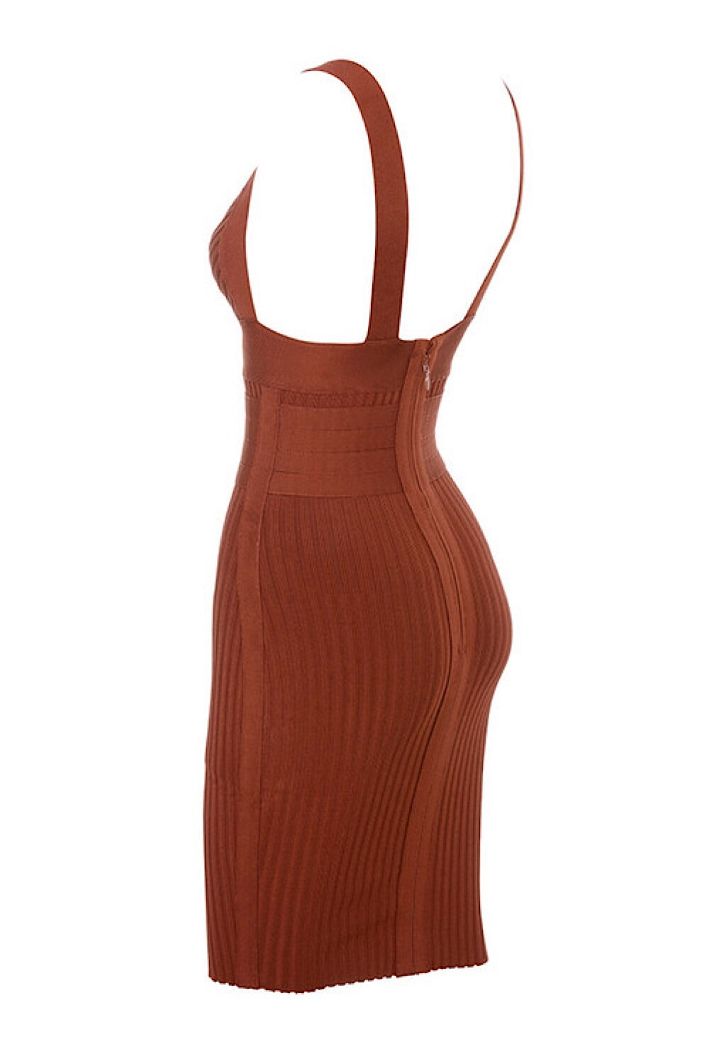 Charmaine Rust Rib Bandage Dress
