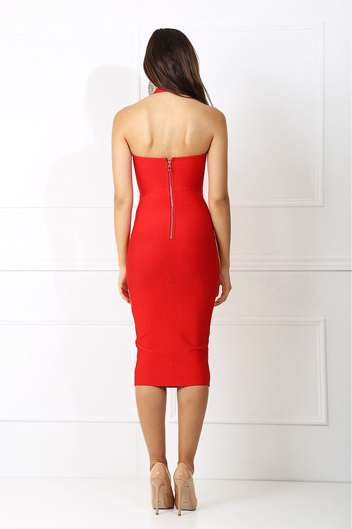 Jordan Red Bandage Dress