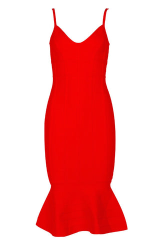 Kira Side Knot Orange Bandage Dress