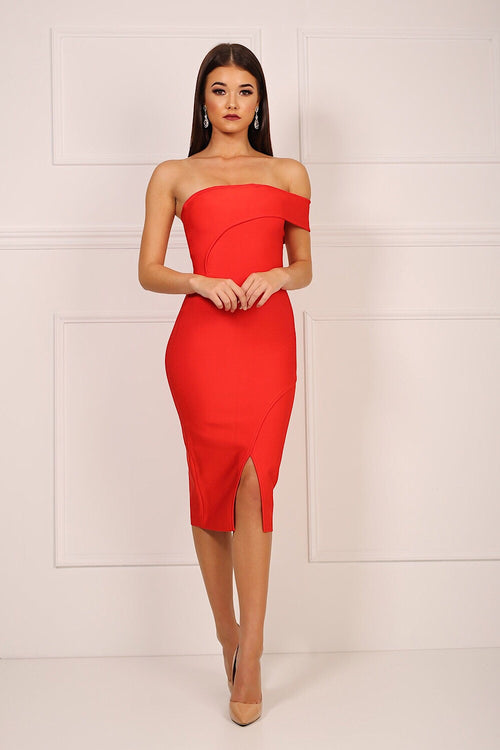 Molly Red One Shoulder Bandage Dress