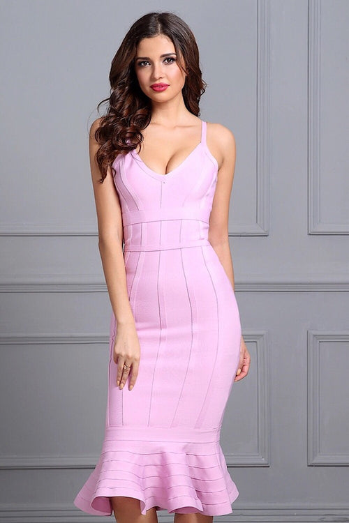Alice Pink Mermaid Bandage Dress