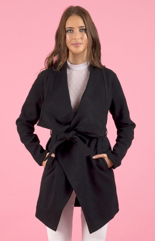 Collared Black Wrap Style Coat