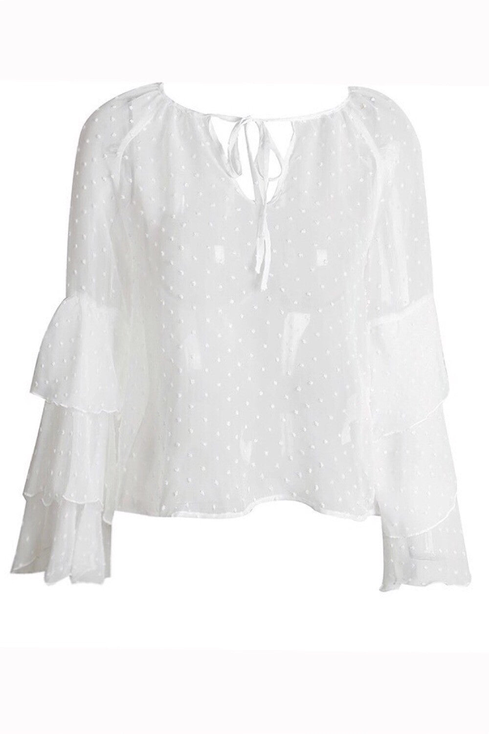 Triple Frills White Pom Pom Textured Blouse
