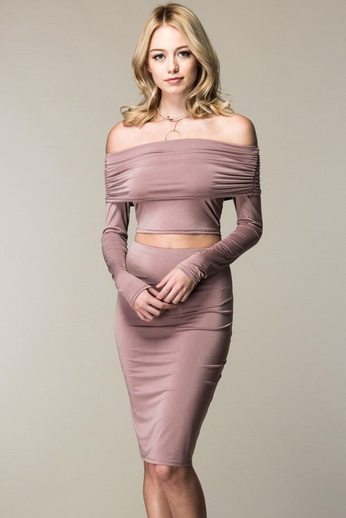 Mia Mauve Crop & Midi Pencil Skirt Set