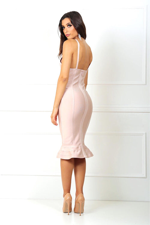 Penelope Blush Fishtail Bandage Dress