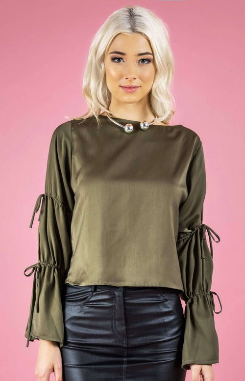 Drawstring detail split sleeve Blouse
