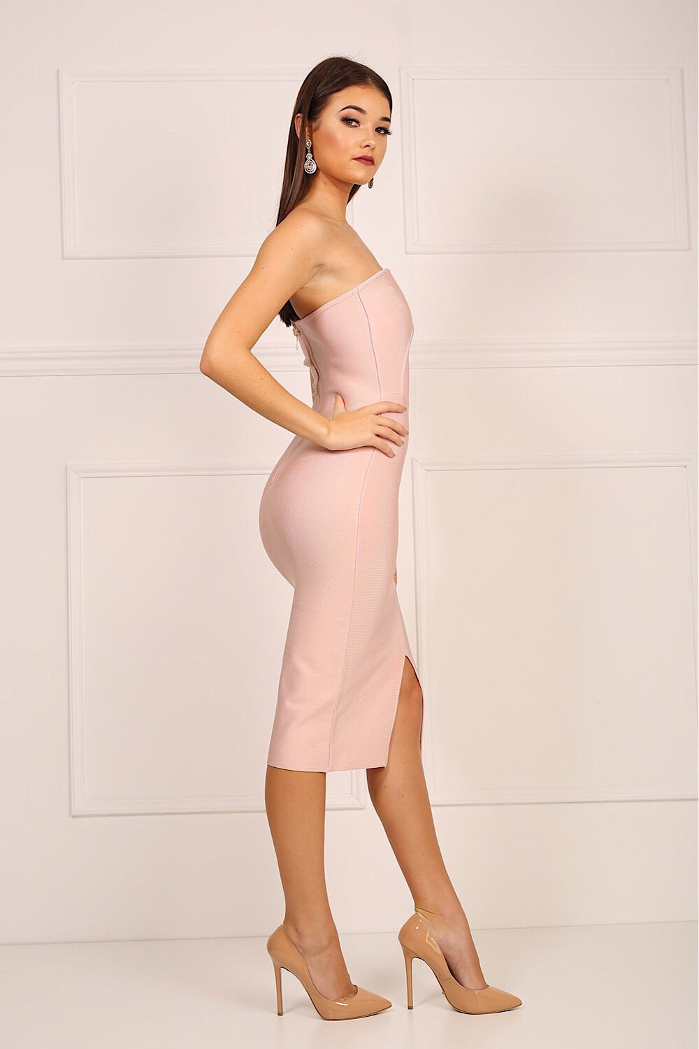 Molly Pink One Shoulder Bandage Dress