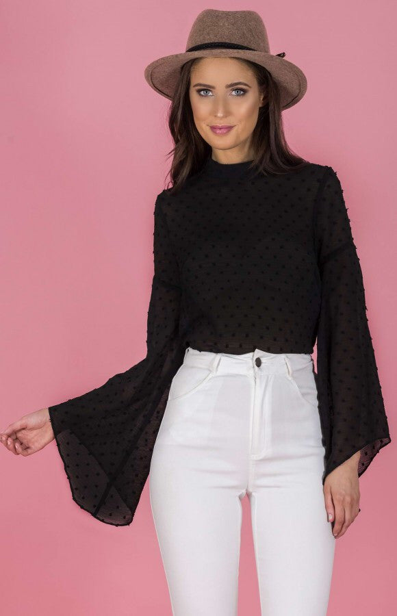 Black Pom Pom Textured Top