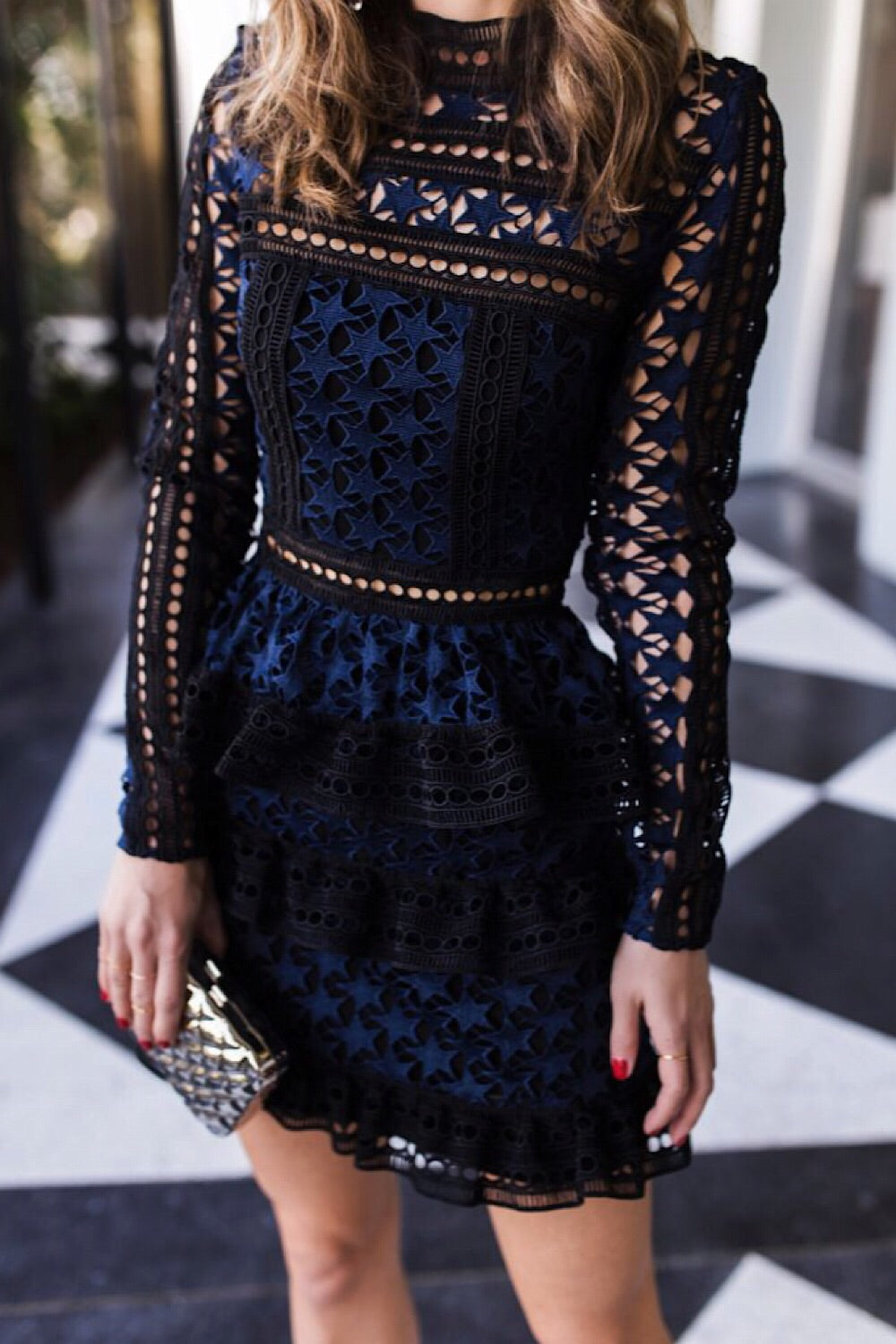 She Is A Star Dress Navy and Black