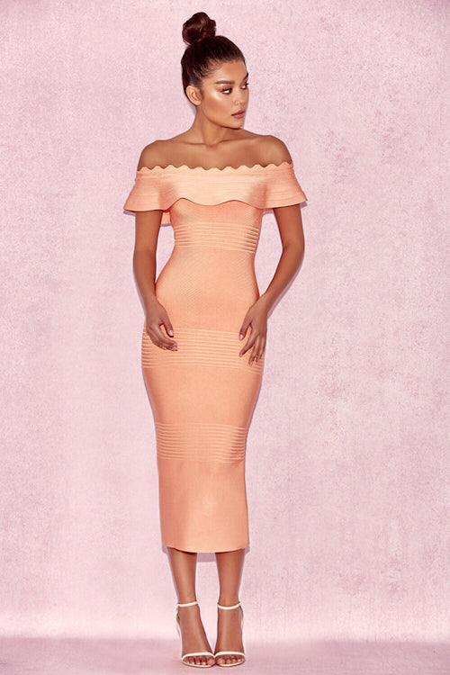 Kiki Light Orange Bandage Dress