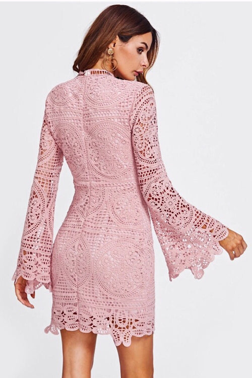 Sofia Flare Sleeved Pink Lace Dress