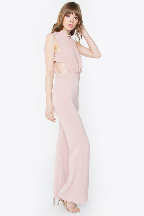 Olivia Pink Mock Neck Jumpsuit