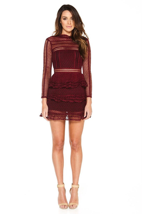 Rosa Burgundy Lace Dress