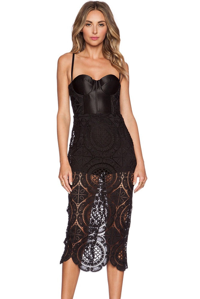 Isabella Black Lace Dress